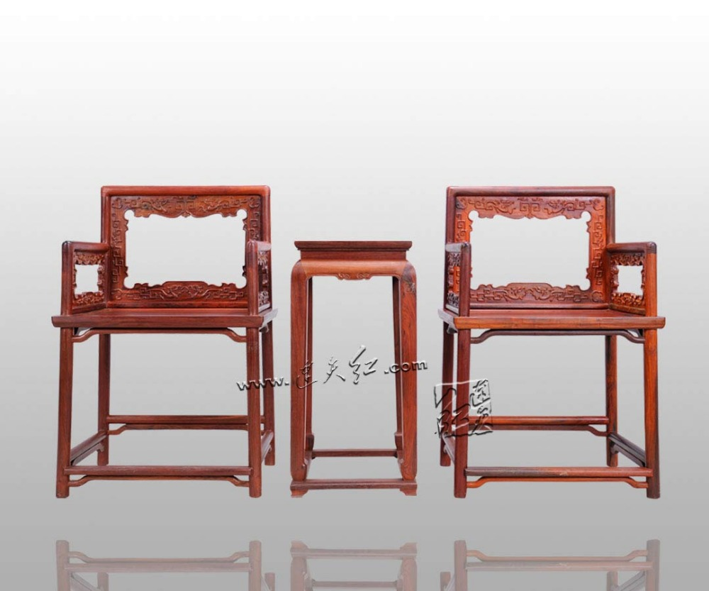 Office Furniture Set Classical 2 Chairs and 1 Tea Table Rose Wood Piano Bench outdoor garden Solid Wood Desk Living Dining Room