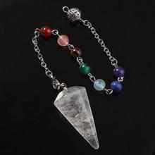 Natural Rock Crystal Quartz  Hexagon Pyramid Reiki Pendulum Pendant Charms +7Chakra stone Amulet European Fashionable Jewelry