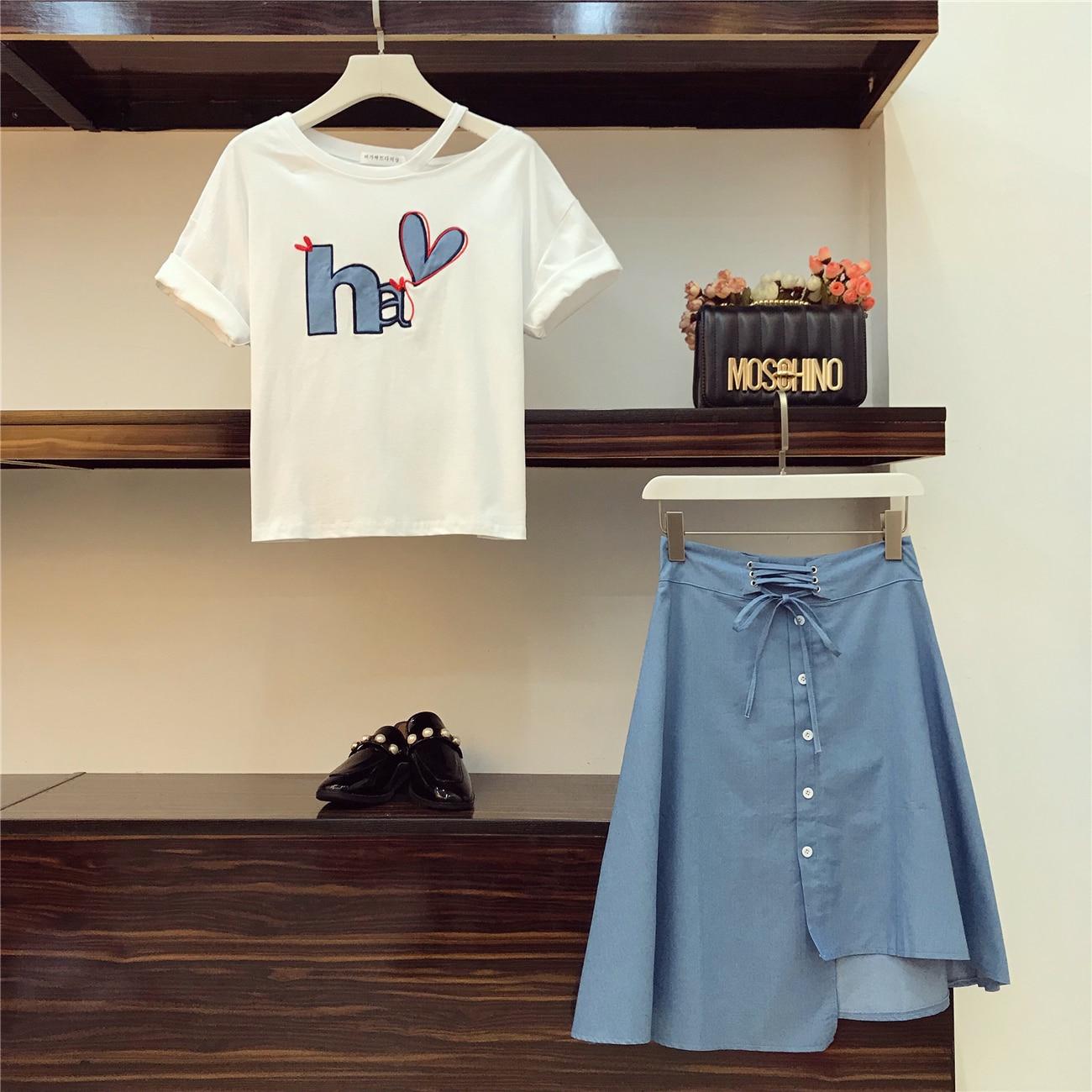 Irregular Fashion Waist Cotton Embroidery High Short Students Printing Summer Women's New Blue Suits Skirt Sleeve Sets 2018 Tshirts wEWS7OFnq