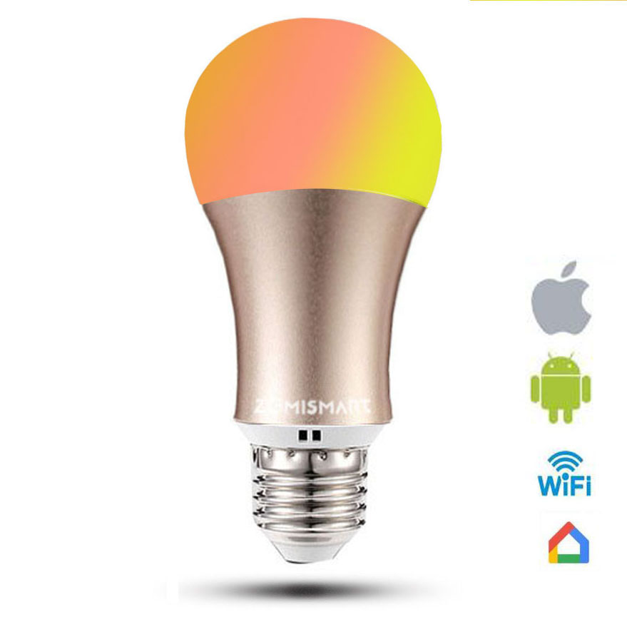 rgb light bulb work with google home dimmable e26 e27 smart lamp 6w color changing via wifi app. Black Bedroom Furniture Sets. Home Design Ideas