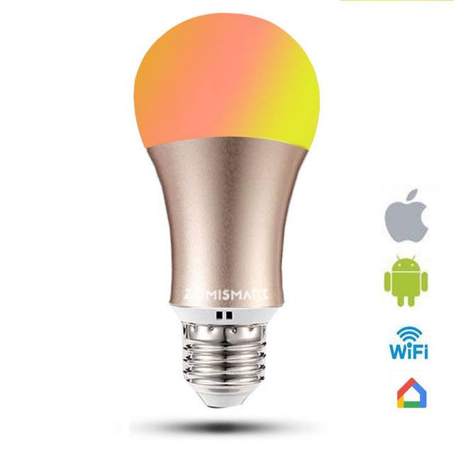 Rgb Light Bulb Work With Google Home Dimmable E26 E27 Smart Lamp 6w Color Changing Via Wifi Control White Available