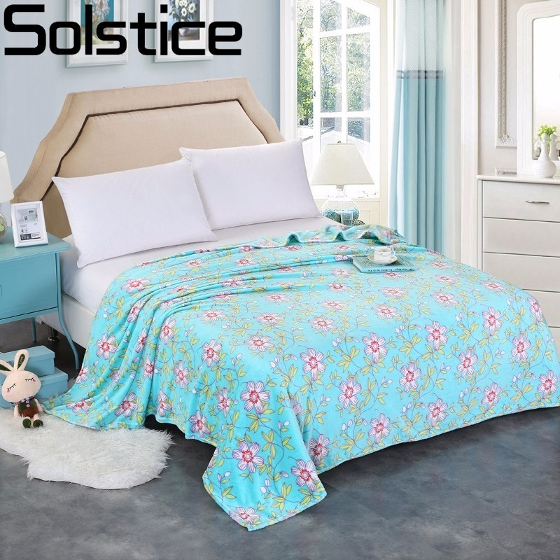Solstice Fashionable Green Floral Style Warm And Comfortable Coral Blanket  Throw On Sofa/bed Sheet Travel Portable Blanket