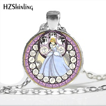 NS-00768 Fashion Cinderella Necklace Handmade Kingdom Hearts Princess Necklace Glass Cabochon Art Photo Jewelry Wholesale цена 2017