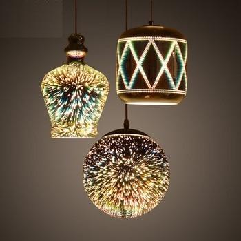 3D Mirror Electroplating Fireworks Flower Droplight Modern LED Pendant Light Fixtures For Dining Room Hanging Lamp Lamparas