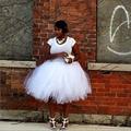 2016 Barato Africana Mujeres Tutu Faldas Pure Blanco Puffy Rodilla Adultos Faldas Encargo 90 Color Disponible