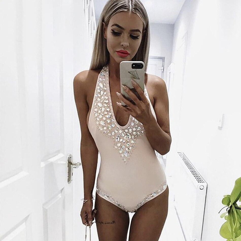 2018 Newest Summer Bandage Bodysuit Women Celebrity Party Sleeveless V-Neck Beading Beach Sexy Swinsuit Bodycon Women Wholesale