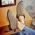2016 la venta caliente del otoño nueva moda zip botines negros las mujeres del dedo del pie redondo planas botines sólidos mujer cómoda cuña zapatos