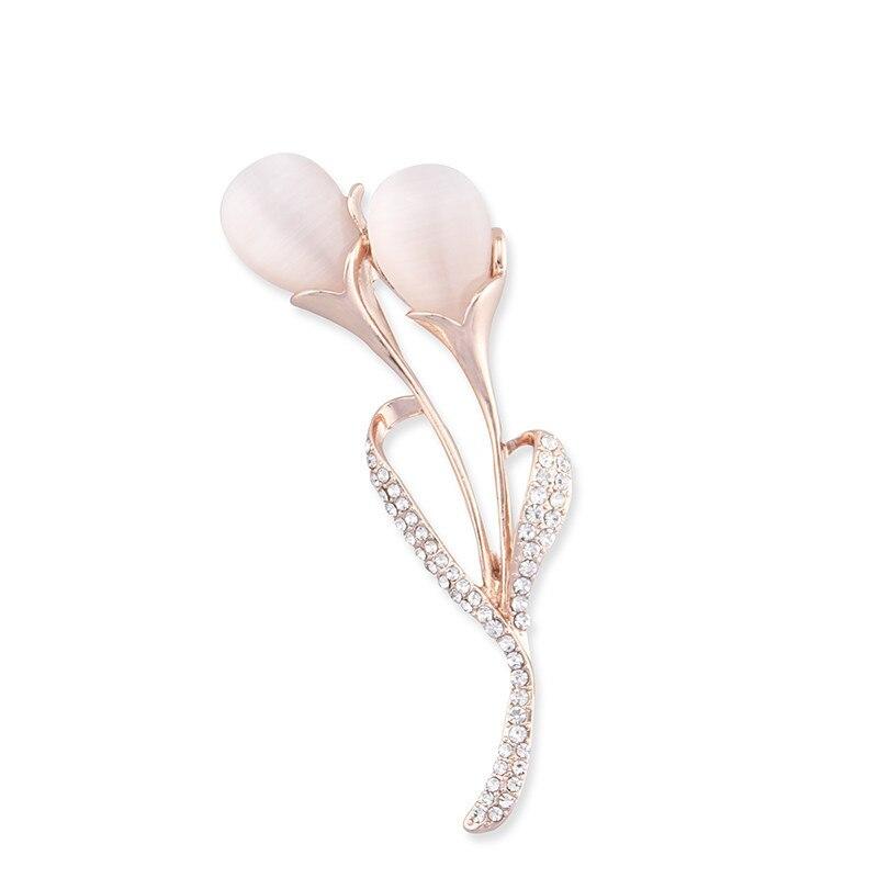 2018 Fashion Opal Stone Tulip Brooch Pin Elegant Jewelry Flower Brooches Rhinestone Pin Elegant Women's Clothing Accessories