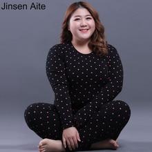 Jinsen Aite Fleece Thick Winter Warm Long Johns Suit For Women Plus Size 5XL Dot Sleep