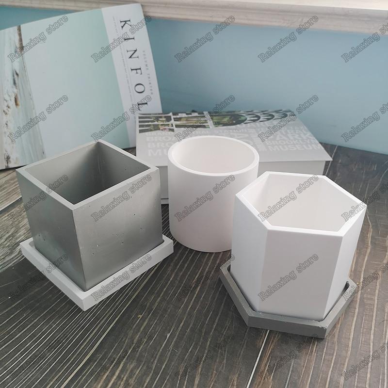Hexagon Flowerpot Concrete Silicone Mold For Succulent Plants Round Pen Container Plaster Gypsum Mould Cement Clay Molds