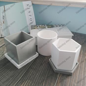 Sześciokątne doniczki betonowe formy silikonowe do sukulenty okrągłe piór pojemnik tynk gipsowy formy cementowe gliniane formy tanie i dobre opinie LISM Concrete mold silicone rubber Random