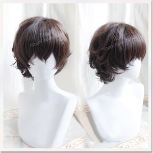 Image 2 - New Arrival Anime Bungo Stray Dogs Dazai Osamu Short Brown Curly Hair Heat Resistant Cosplay Costume Wig + Track + Cap