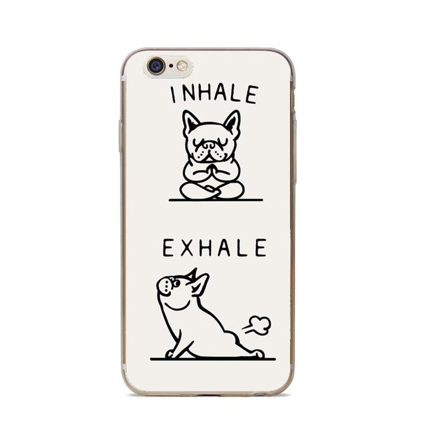 2bcc7222898 Inhale Exhale English Bulldog Boston Terrier Hard plastic Phone Cases Cover  For iPhone 5 5S SE 6 6S Plus 7 7Plus 8 8Plus X