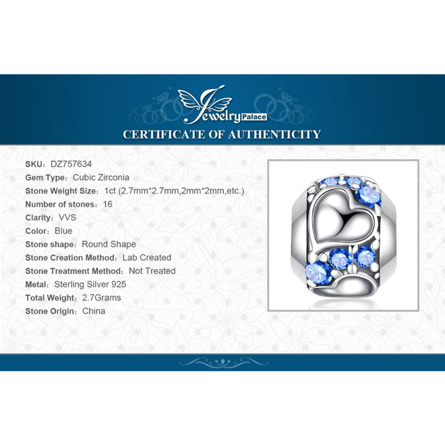JewelryPalace Faithful Heart 0.4ct Blue Cubic Zirconia 925 Sterling Silver Charm Beads 2018 New Hot Sale Beautiful Gifts