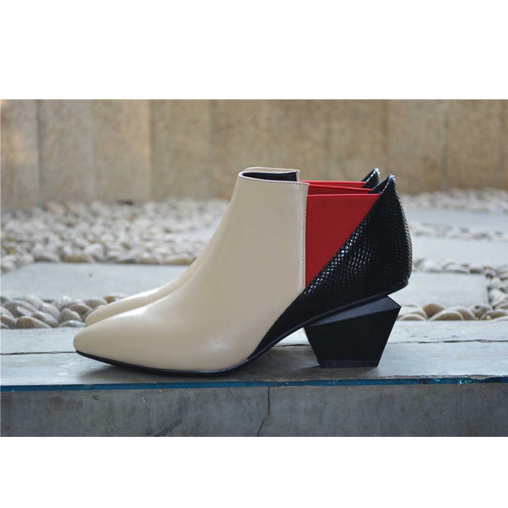 Chelsea sivri burun çizmeler hakiki deri çizmeler kadın sonbahar çizmeler karışık renk düzensiz kare topuklu yarım çizmeler HL10 MUYISEXI