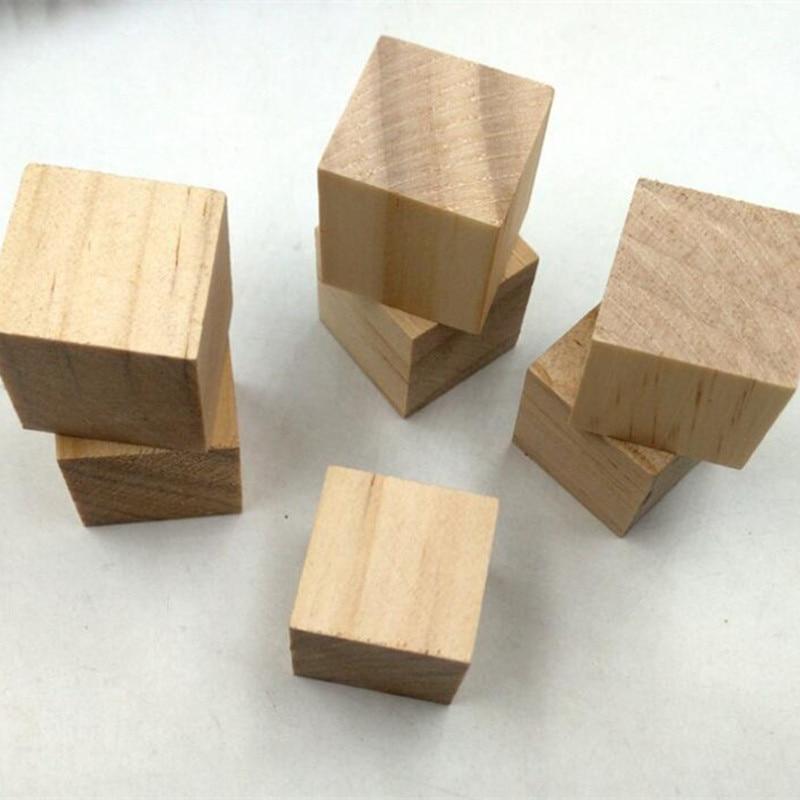 100pcs/lot 20mm Size Natural Wooden Square Mini Cube Embellishment for Kids Children DIY Craft