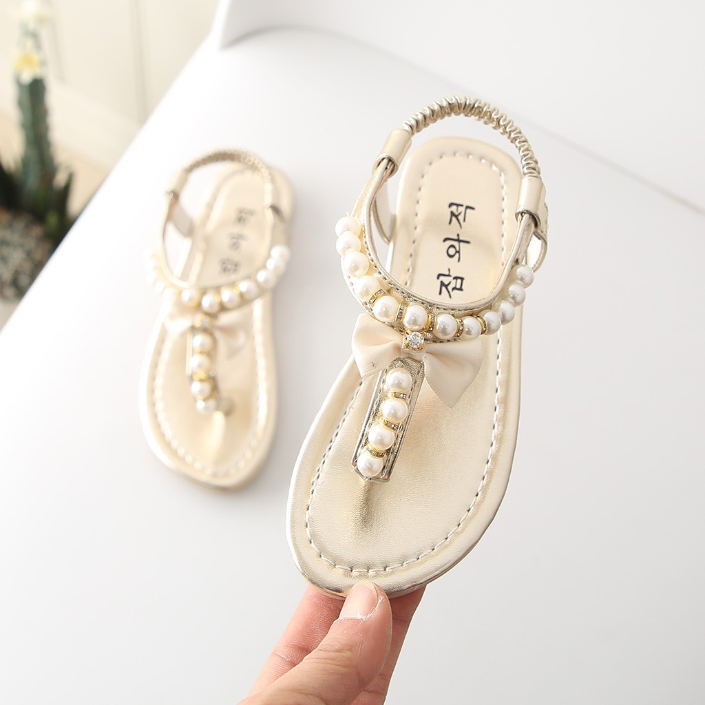 SZYADEOU Kids Baby Summer Sandals For Girls Shoes Children Rubber Leather Princess Beach Pearl Sandals סנדלים בנות Сандали L4