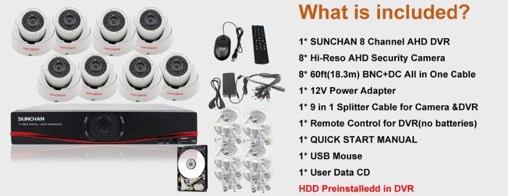 SUNCHAN HD יום א-ה 1080P 2.0 מגה פיקסל 8CH יום א מערכת אבטחה CCTV מצלמה 3000TVL מקורה היום ראיית לילה בבית DIY ערכות w/HDD
