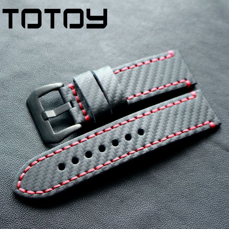 TOTOY Carbon Fiber 20MM 22MM 24MM Retro Watchbands, Men's PAM111 Rough Mad Style Strap, Handmade Watchbands