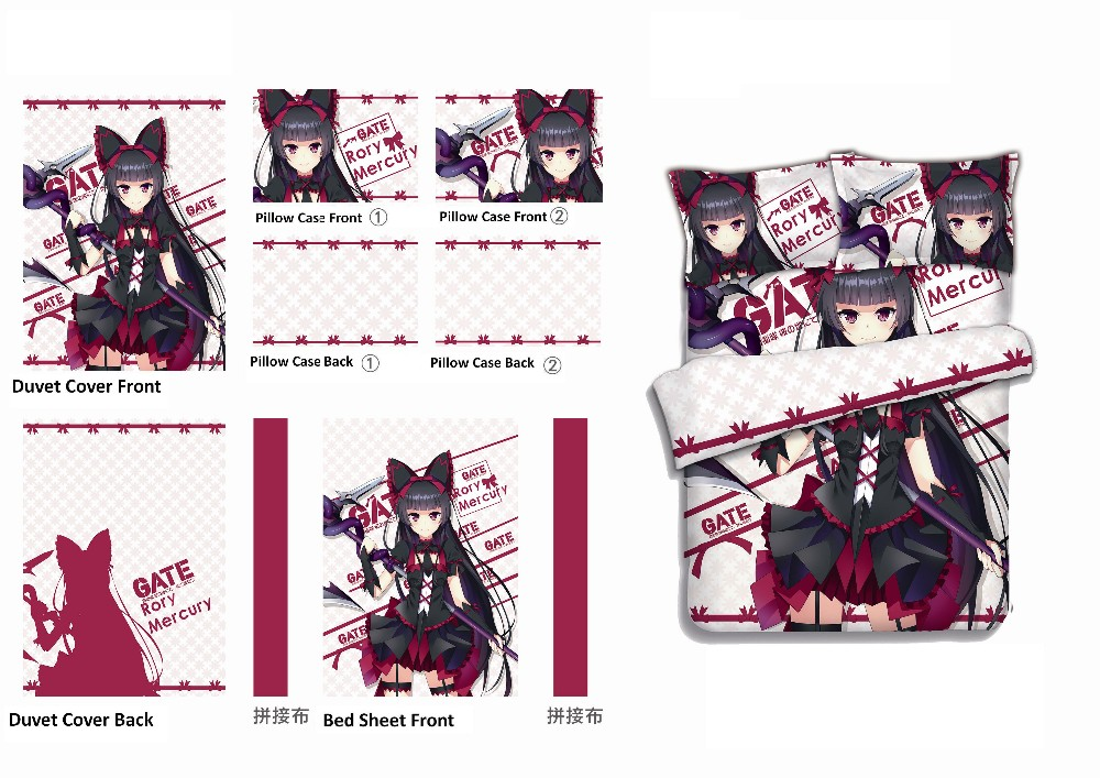 Gate Jieitai Kanochi Nite Rory Mercury Japan Anime Bed Blanket sheet or Duvet Cover with Two Pillow cases bedding CP160418 GATE-.-A4v1.011