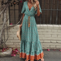 BerryGo Bohemian dresses print summer dress women Short sleeve ruffled long maxi dress v neck drawstring ladies cotton dresses