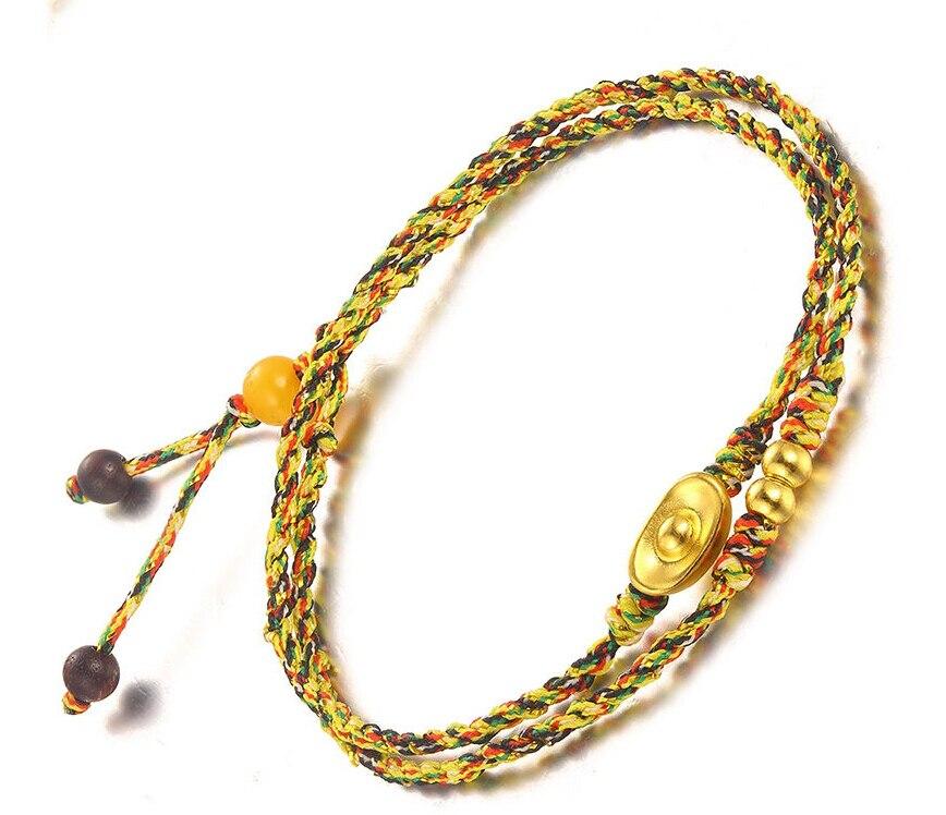 Authentic 24K Yellow Gold Bracelet Lucky Ingot Beads Beads Knitted BraceletAuthentic 24K Yellow Gold Bracelet Lucky Ingot Beads Beads Knitted Bracelet