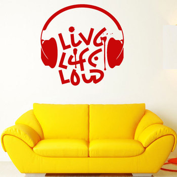 Live Music Loud Musical Quote Headphones Vinyl Decals Art Home Decor For Teens Room Sticker Interior Removable Wallpaper 3206