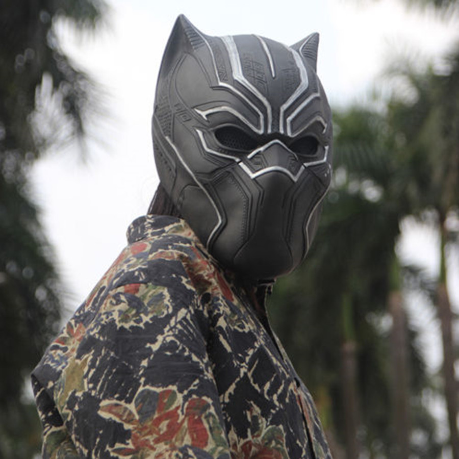 Captain America Black Panther Civil War Avengers Cosplay Black Panther Mask Costume Halloween Latex Mask Party Drop Ship