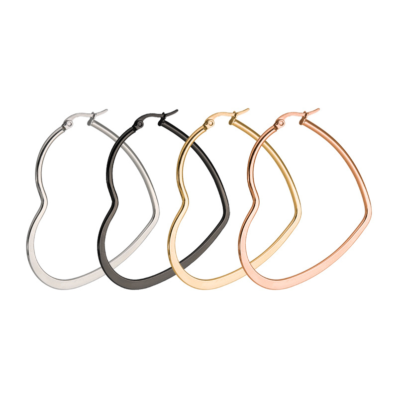 Heart Shaped Large Hoop Earrings Rose Gold Color Stainless Steel Tiff Round Circle Hyperbole Earrings Nightclub