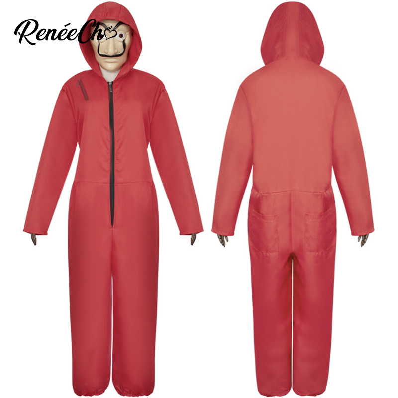 Halloween Costume For Adult La casa de papel Salvador Dali Costume Heist Movie & TV Costume Red Jumpsuit And Mask Full Suit