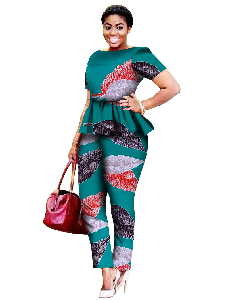 2018 Legging Sets for Women Custom Brand Two Pieces Sets African Bazin Riche Clothes for Women Two Piece Pants Set African WY520