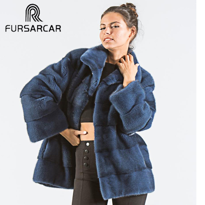 FURSARCAR Natural Fur Jacket Female New Mink Fur Coat Luxury Winter For Women Warm Thick Down Outwear With Collar Mink Fur Coats