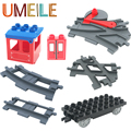 UMEILE Train Track Carriage Wagon Cross/Straight/Curved transfer Rail Big Building Blocks Toys Compatible with Legoe Duplo
