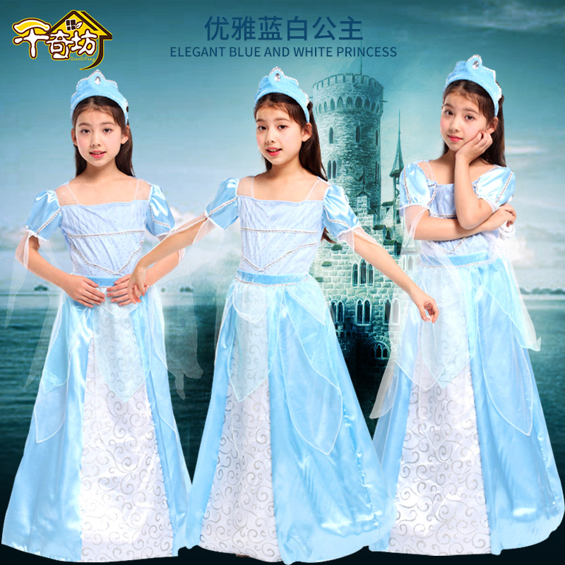 Halloween Party Cosplay Costumes kids Girls Stage Performances Princess Dresses Costumes Elegant Blue and Whiter Princess Suits devil may cry 4 dante cosplay wig halloween party cosplay wigs free shipping
