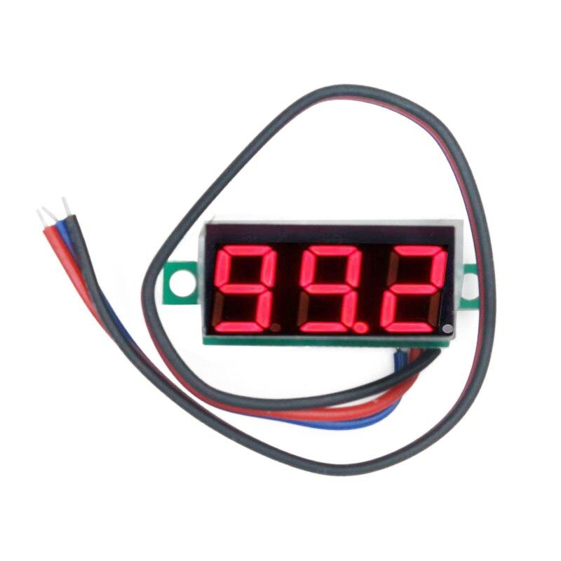 100pcs/lot DC0-100V 0.28 inch 3 bits Digital Voltage Panel Meter Voltmeter tester Red Light LED Display 39%off