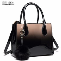 Miss Lulu Women Patent Leather Handbags Gradient Shoulder Bags Ladies Fashion Fur Ball Tote Cross Body Bags for Girls LH1759