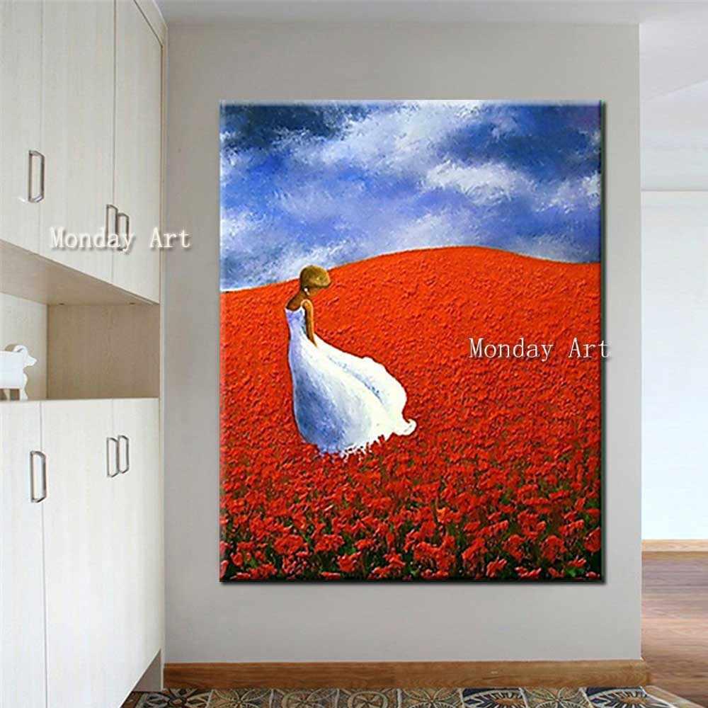 Расписанную сексуальная девушка море цветок картина с цветком живопись маслом на холсте книги по искусству украшения дома стены картину для гостиная