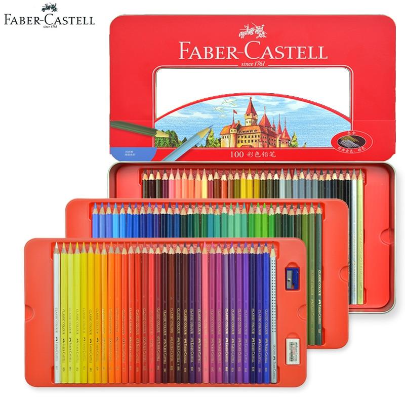 Ensemble de crayons de couleur classiques Faber Castell 100 couleurs pour artistes, dessin, croquis, livre de coloriage, produits d'art pour enfants haut de gamme