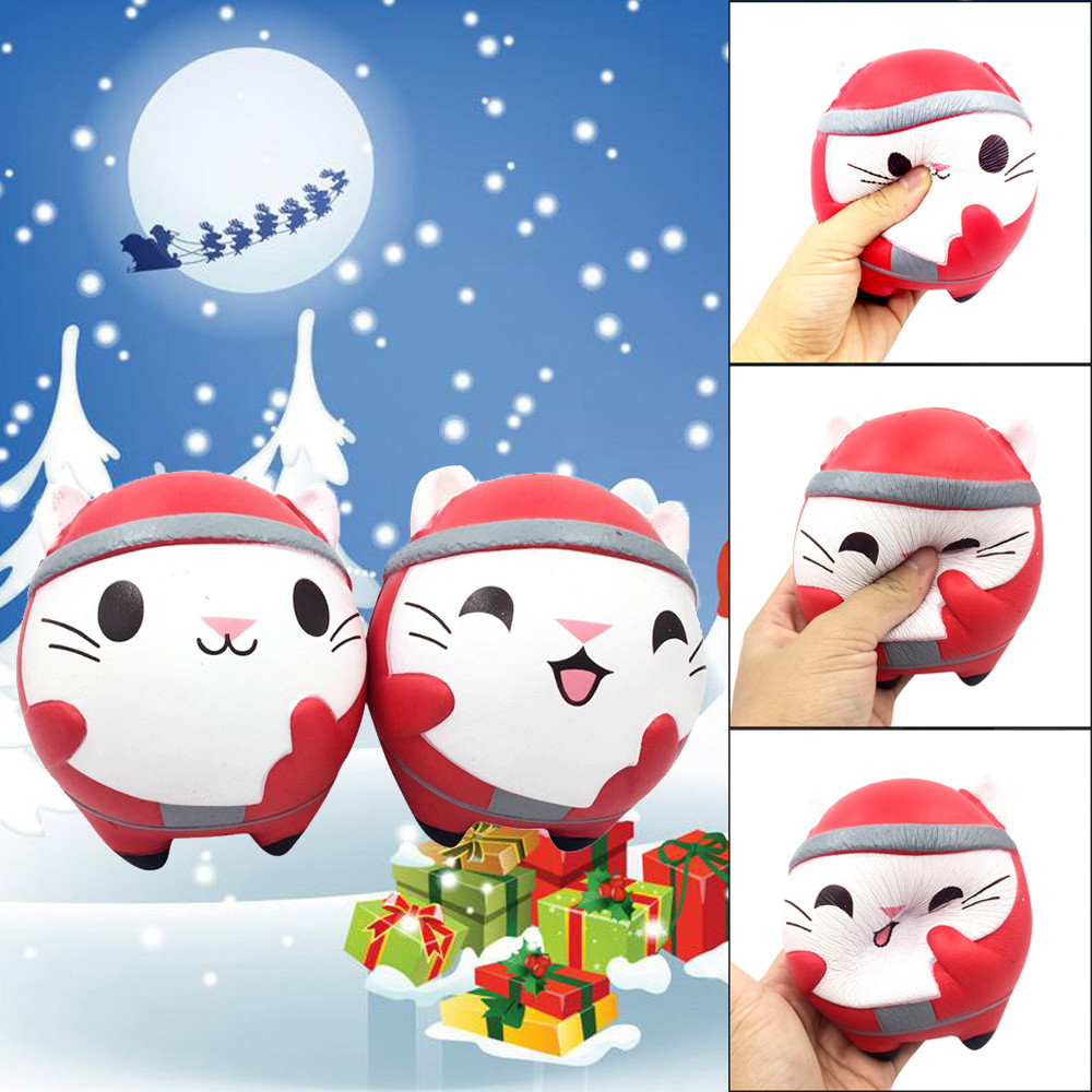 Exquisite Christmas Cute Cat Scented Squishy Charm Slow Rising 13cm Simulation Kids Toy kids gift