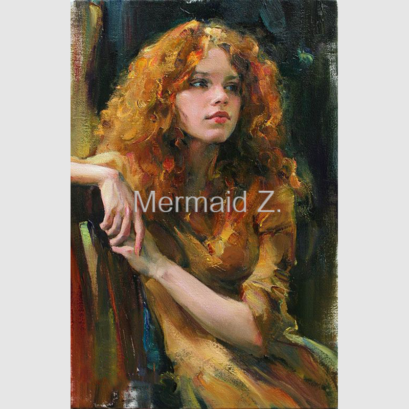 Hand painted oil painting michael and inessa garmash lady for Hand painted portraits from photos