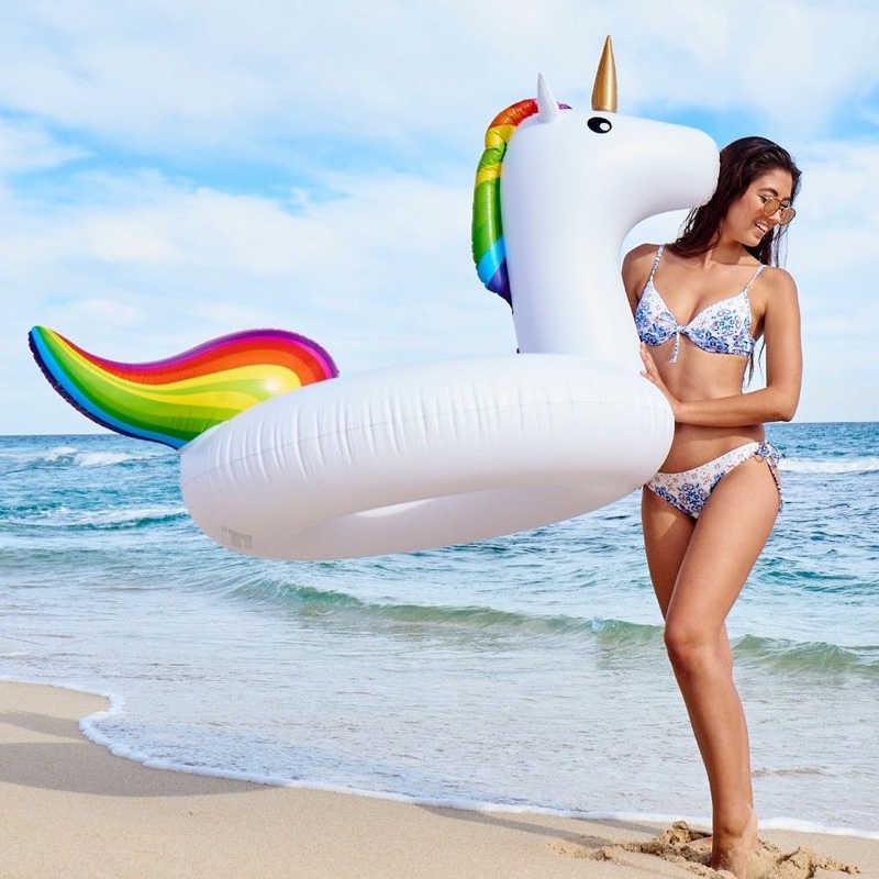 لون السماء الحصان طوافة بلاستيكية للسباحة PVC نفخ السباحة دائرة يونيكورن طوافة بلاستيكية للسباحة العائمة صف الصيف عطلة المياه ألعاب احتفالات