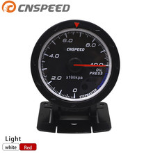 цена на CNSPEED 60MM Car Oil pressure Gauge 0-10 BAR Oil Press Meter With Sensor Red & White Lighting Gauge Car Meter YC101415+YC100211