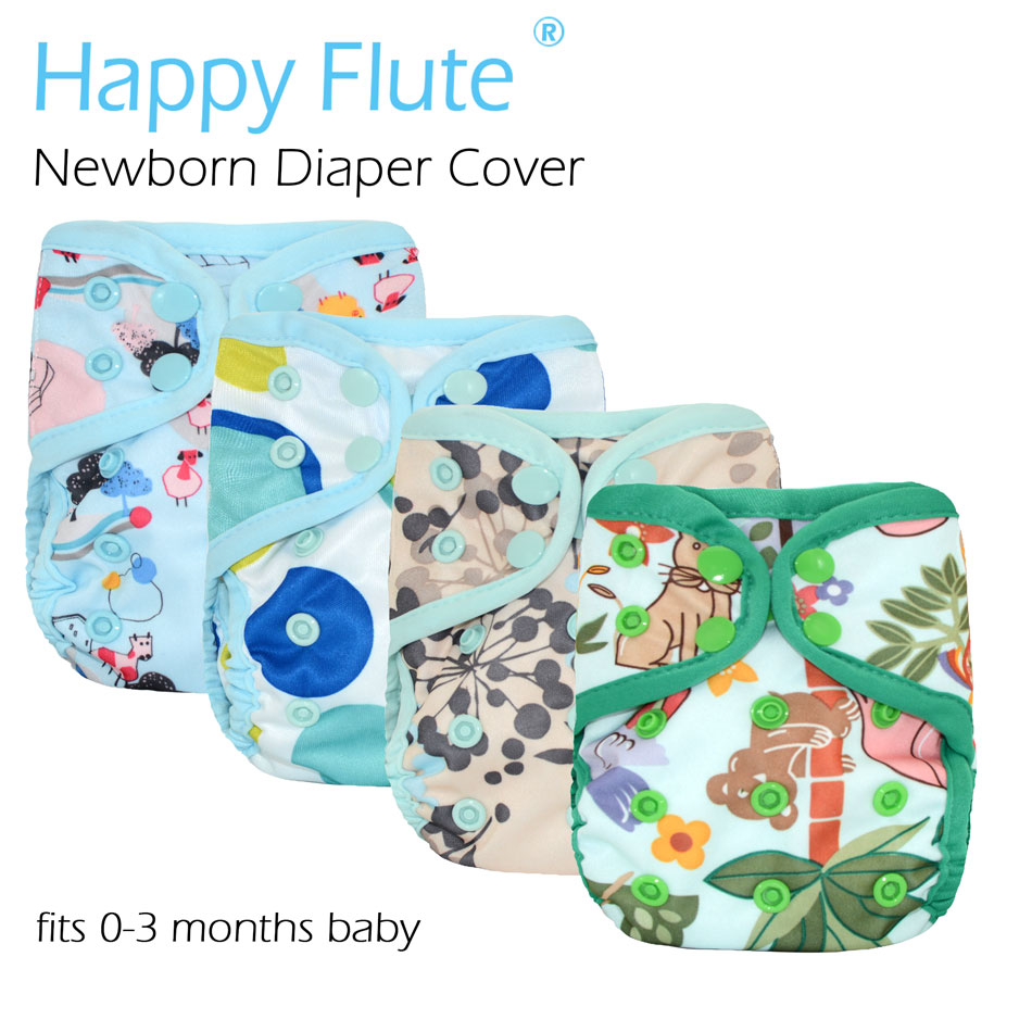 New Prints! Happy Flute newborn diaper cover for NB baby,double leaking guards, waterproof and breathable