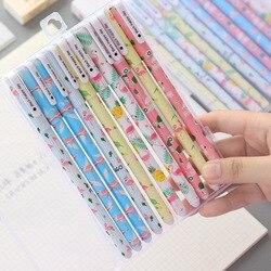 10 pçs gel canetas flamingo unicórnio preto colorido kawaii presente gel-tinta canetas para escrever bonito artigos de papelaria material escolar de escritório