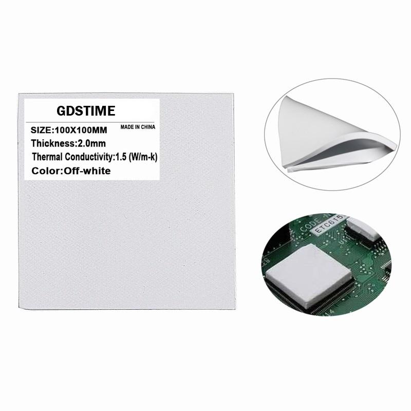 Купить с кэшбэком 2Pcs Gdstime 100X100x2MM White Thermal Compounds IC Chip Conduction Heatsink Pad