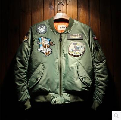 Free shipping  2016 Popular logo cotton padded clothes male pilot badge fashion cartoon jacket printing