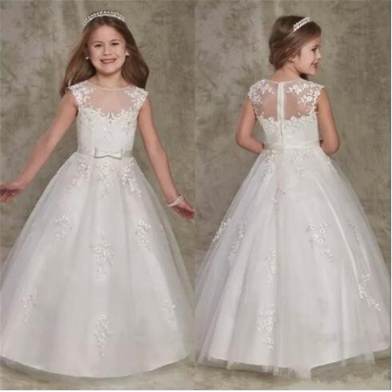 2019 Cute Flower Girl Dresses Sheer Crew Neck Lace Appliques Zipper Back Long A-line Elegant Girl's Pageant Dresses with Bow