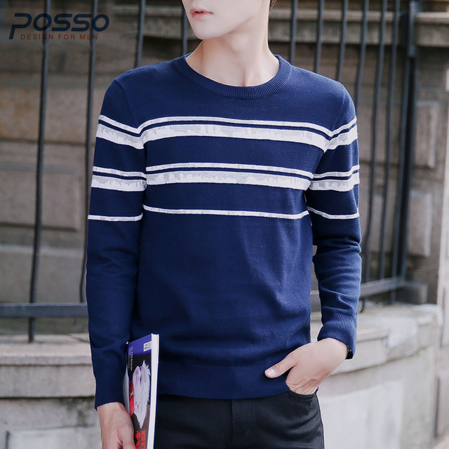 8173bd4a0 Casual Knitted Sweater Men Fashion Korean Basic Striped Sweater Autumn  Winter Solid High Quality Cotton Sweater Male Clothes Hot