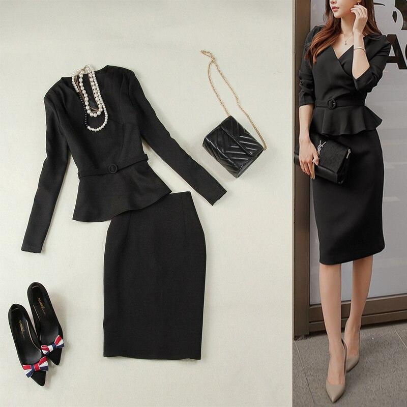 Moitié De Mode Taille Deux Femelle Tempérament Costume Et Court Nouveau Printemps Femmes Jupe Noir 2019 1 Veste Grande Manteau 2 D'été pièce Awx7x