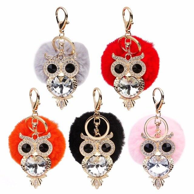 XINYAO Crystal Rhinestone Owl Key Chain Rabbit Fur Fluffy Pompon Keychain Bag  Charm Keyring Artificial Fur Pompon Ball Keyring 4e65d32574e28